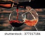 White Red Wine Pouring Glasses - Fine Art prints