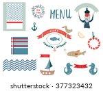 fish restaurant menu design... | Shutterstock .eps vector #377323432