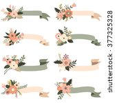 rustic floral banners elements   Shutterstock .eps vector #377325328