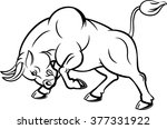 Illustration Of Angry Bull Wit...