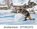 two little boys sculpt a... | Shutterstock . vector #377341372