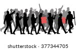 group of protester silhouette | Shutterstock .eps vector #377344705