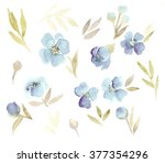 Watercolor. Floral Set Of Blue...