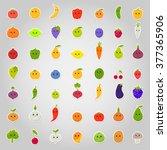 set of flat cartoon happy... | Shutterstock . vector #377365906