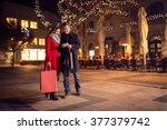 trendy couple is walking with... | Shutterstock . vector #377379742