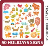50 holidays signs. vector | Shutterstock .eps vector #37739362