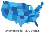 blue usa state map | Shutterstock .eps vector #37739866