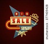 retro showtime sign design.... | Shutterstock .eps vector #377405428