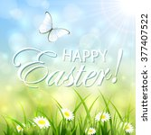 natural easter background with... | Shutterstock .eps vector #377407522