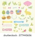 set of happy easter design... | Shutterstock .eps vector #377443636