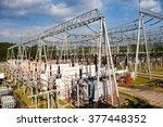 substation in the blue sky... | Shutterstock . vector #377448352