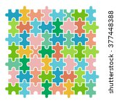 colorful vector jigsaw puzzle... | Shutterstock .eps vector #377448388
