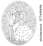 the princess and the unicorn.... | Shutterstock .eps vector #377449696