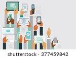 human hands holding various... | Shutterstock .eps vector #377459842