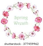 hand drawn watercolor wreath... | Shutterstock . vector #377459962