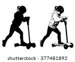 little girl riding scooter  ...   Shutterstock .eps vector #377481892