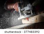 Drill Machine Drilling A Wood...