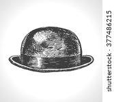 bowler hat. hand drawn vintage... | Shutterstock .eps vector #377486215