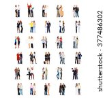 workforce concept standing... | Shutterstock . vector #377486302
