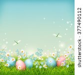 spring landscape with easter... | Shutterstock . vector #377490112