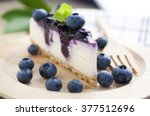 blueberry cheesecake on wooden... | Shutterstock . vector #377512696