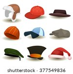 caps  top hats and other... | Shutterstock .eps vector #377549836