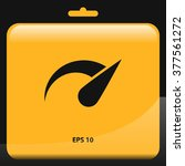 speedometer flat icon with long ...