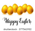 happy easter greeting card with ... | Shutterstock .eps vector #377561932