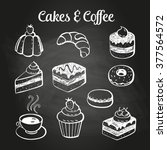 coffee and desserts doodles on... | Shutterstock .eps vector #377564572