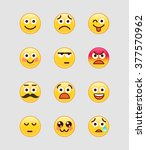 set of yellow emoji. avatar ... | Shutterstock .eps vector #377570962