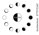 earth and phases of moon around ... | Shutterstock .eps vector #377572165