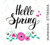 """hello spring"" template | Shutterstock .eps vector #377583616"