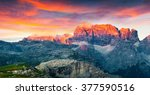colorful summer sunset on... | Shutterstock . vector #377590516