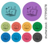 color multimedia flat icon set...