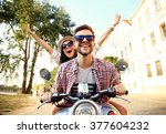couple in love riding a... | Shutterstock . vector #377604232