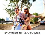 couple in love riding a... | Shutterstock . vector #377604286