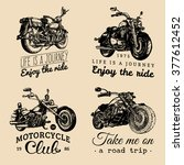 custom chopper and motorcycle... | Shutterstock .eps vector #377612452