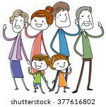 happy stylish family.  vector... | Shutterstock .eps vector #377616802