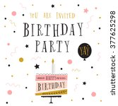 cute happy birthday card with... | Shutterstock .eps vector #377625298