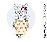 Cute Cat Girl Hipster  Hand...