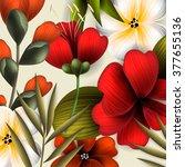 tropical flower  blossom... | Shutterstock .eps vector #377655136