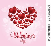 happy valentine's day text and... | Shutterstock .eps vector #377663806