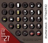 27 colored coffee cocktails... | Shutterstock .eps vector #377663932