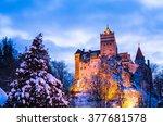 famous bran castle  illuminated ... | Shutterstock . vector #377681578