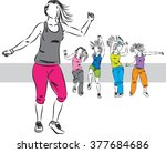 dancers group illustration d | Shutterstock .eps vector #377684686