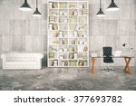 loft interior with a library... | Shutterstock . vector #377693782
