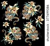 japanese style dragon tropical... | Shutterstock . vector #377699386