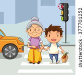 child helping old woman cross... | Shutterstock .eps vector #377701252
