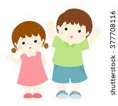 happy boy and girl cartoon... | Shutterstock .eps vector #377708116