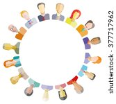 group of people around circle... | Shutterstock .eps vector #377717962